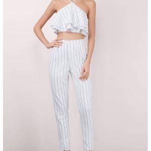 Tobi two piece set, white striped crop top & pants